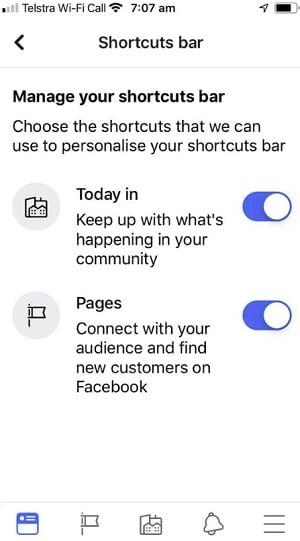 Facebook tab settings