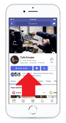 Facebook's new action buttons on Pages