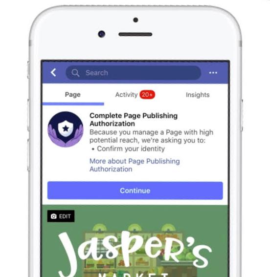 أدوات تفويض صفحة Facebook (لقطات)