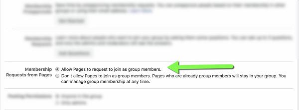 Configuraciones de grupos de Facebook