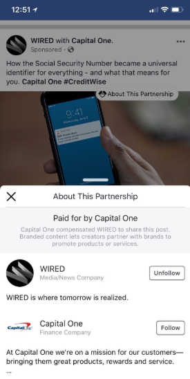 Facebook's paid partnership info label in action