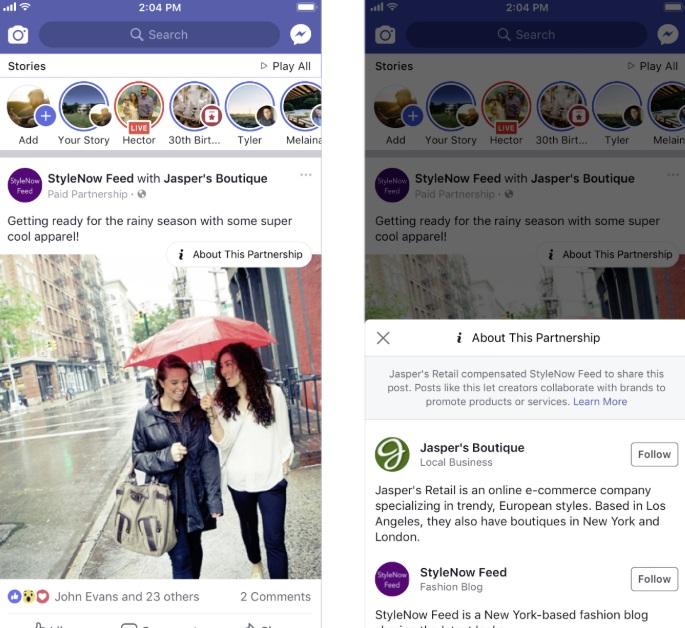 مثال على علامة معلومات الشراكة الجديدة الخاصة بـ Facebook