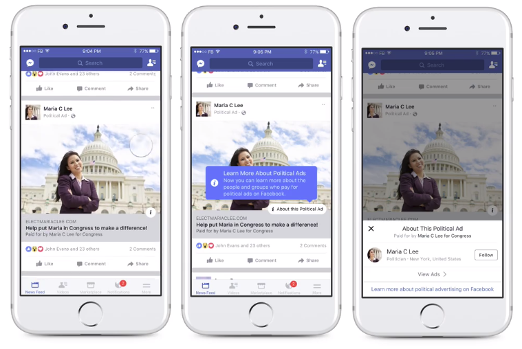 An example of Facebook's political disclosure tools