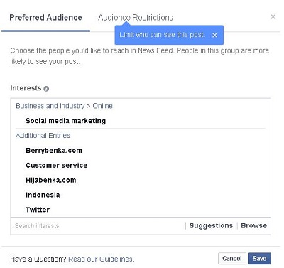 Facebook Audience Optimization example