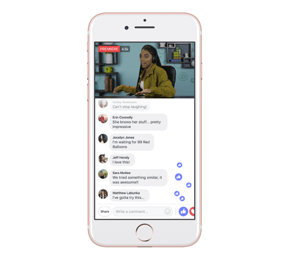 Screenshot of Facebook's Premieres video viewing option