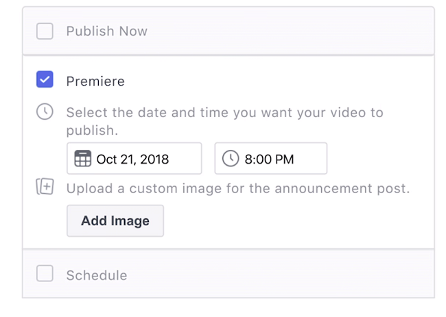 Facebook Premiere set-up