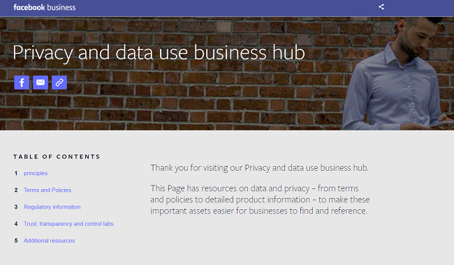 Facebook Data Privacy Hub