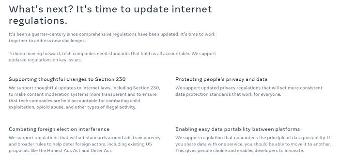 Facebook regulation mini-site