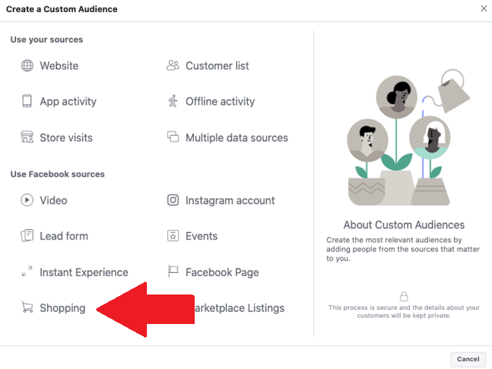 Facebook custom audiences - shopping