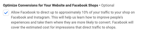Facebook Shops optimization