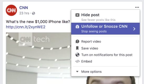 Facebook's snooze Page option