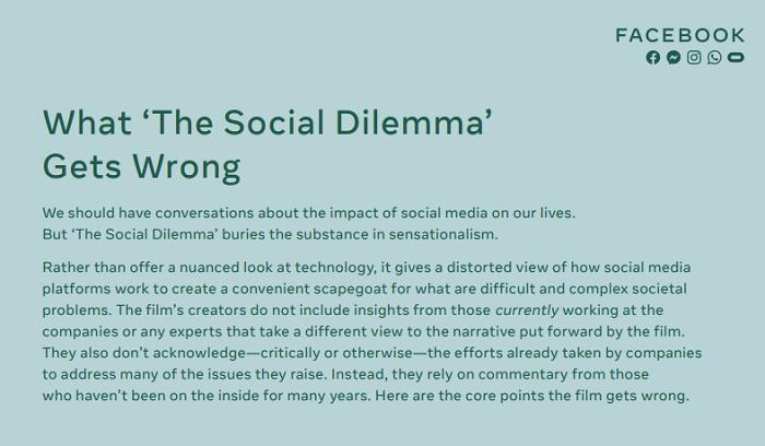 Facebook Social Dilemma response