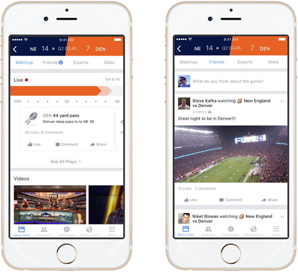 Facebook Sports Stadium screenshots