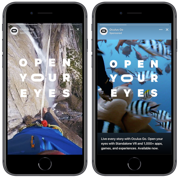 Screenshots of a Facebook Stories ad from Oculus