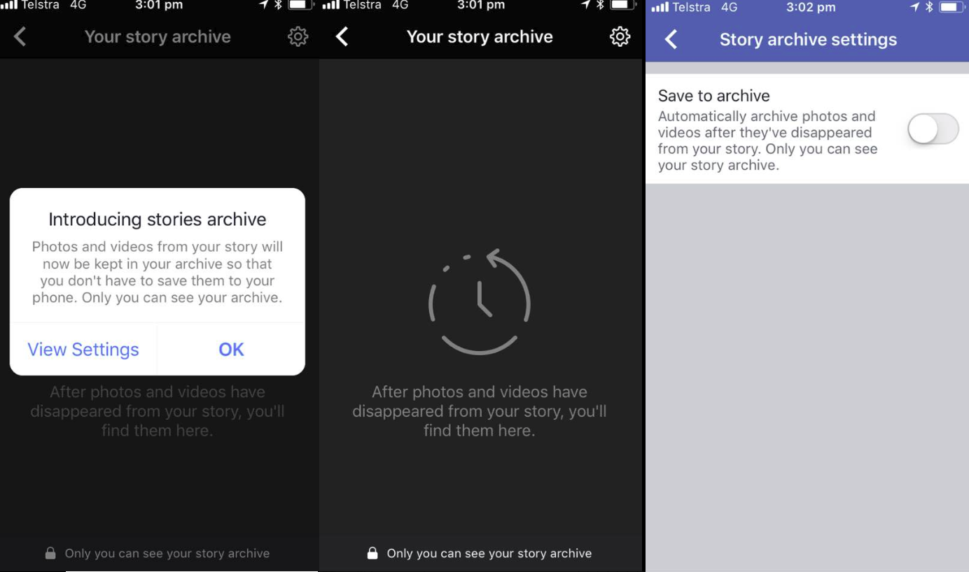 How Facebook's Stories archive works in three shots