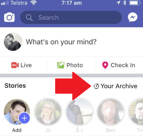 Facebook's Stories archive icon