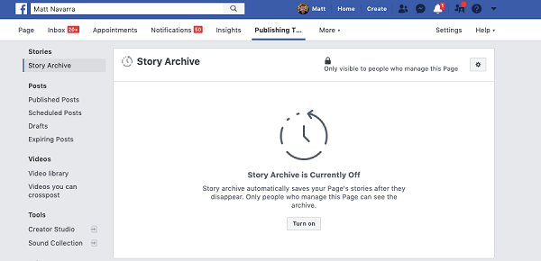 Facebook Stories archive for Pages example