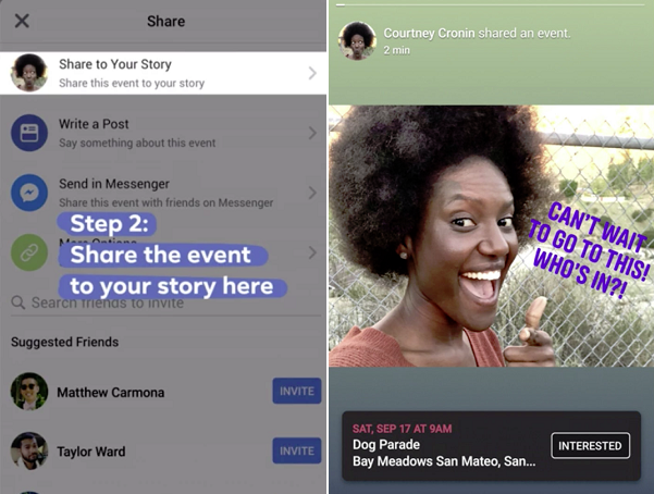 Facebook Stories events integration