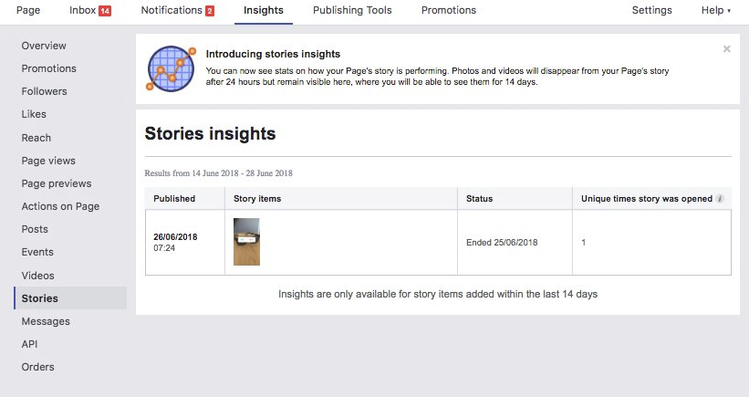 Facebook Stories Insights screenshot
