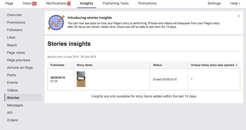 Facebook Stories Insights screenshot