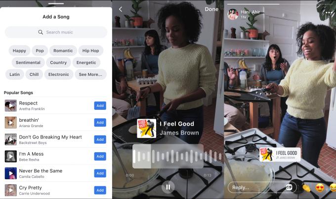 خيارات الموسيقى في قصص فيسبوك