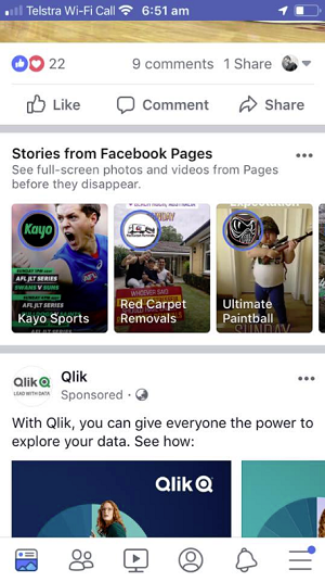 Facebook Page Stories mid-feed promo
