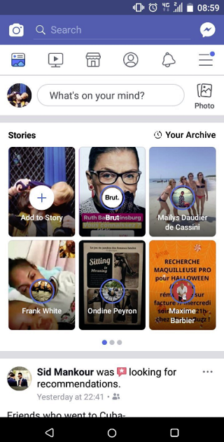 Facebook Stories presentation test