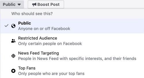 Facebook post targeting example