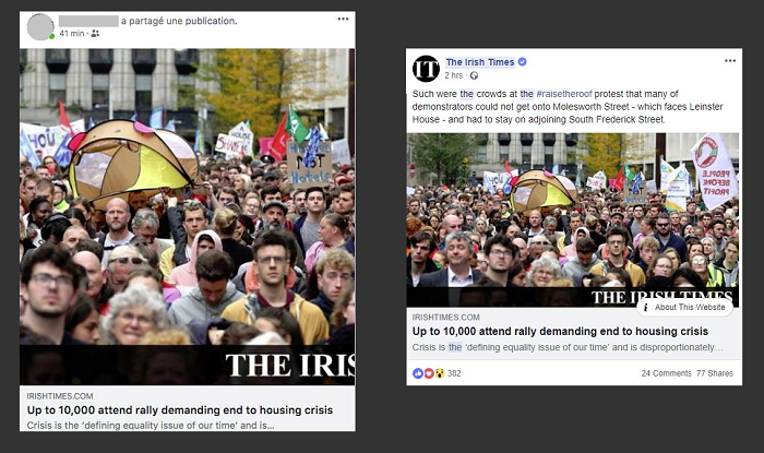 An example of Facebook's new link format, side by side with the current format