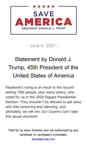 Trump response to Facebook