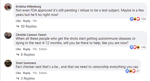Facebook anti-vax comments