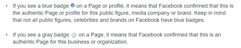 Facebook verified badge explanation