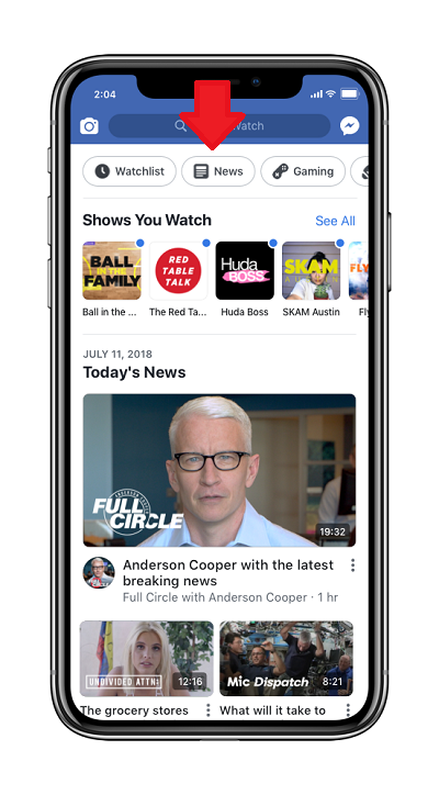 Facebook Watch layout
