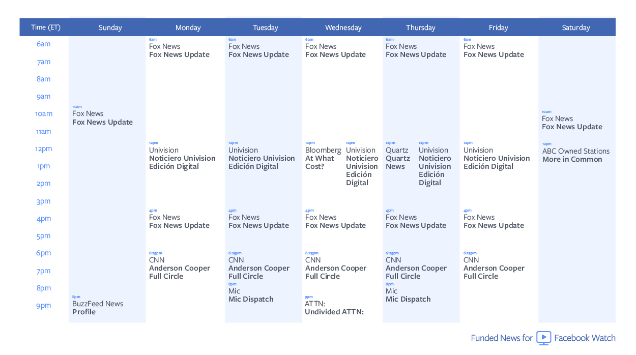 Facebook Watch news programming schedule