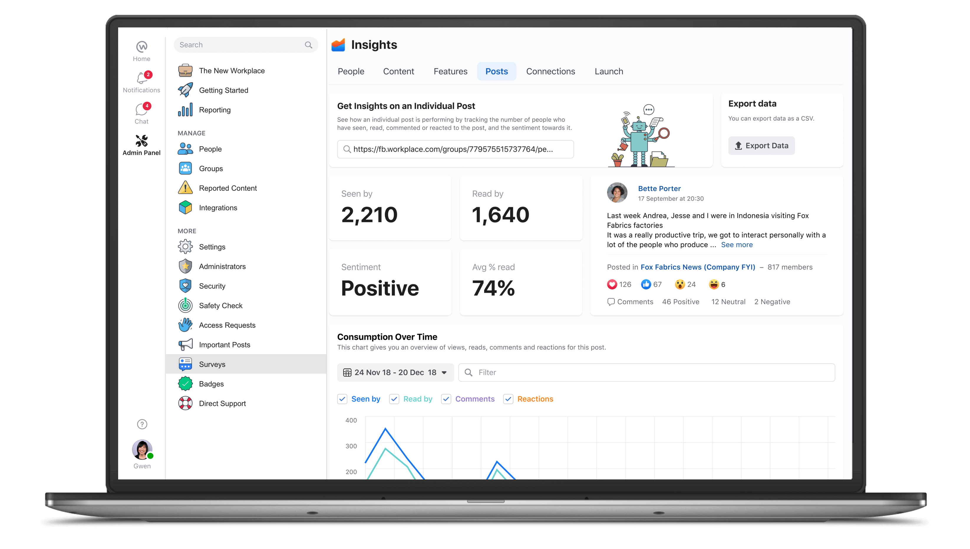 Facebook Workplace insights