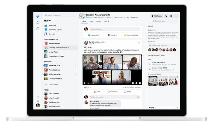 Facebook Workplace live video update