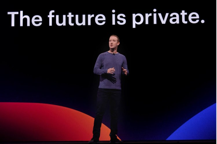 Zuckerberg on stage at F8 2019