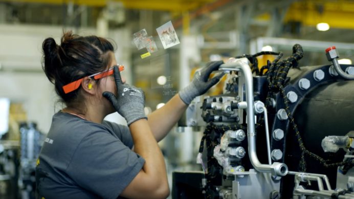 A manufacturing worker using Google Glass