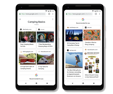Google's updated Collections layout
