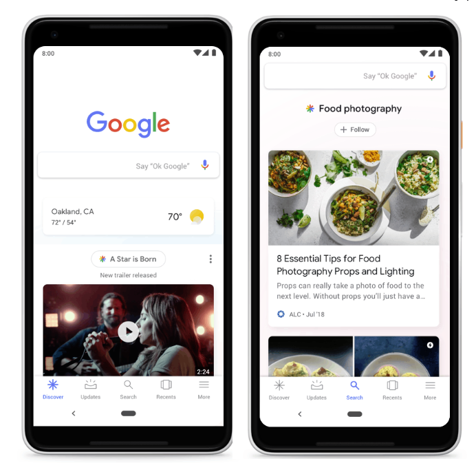 Google's new Discover layout
