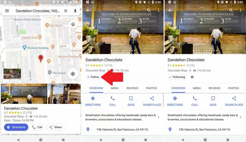 Google Maps 'follow' button