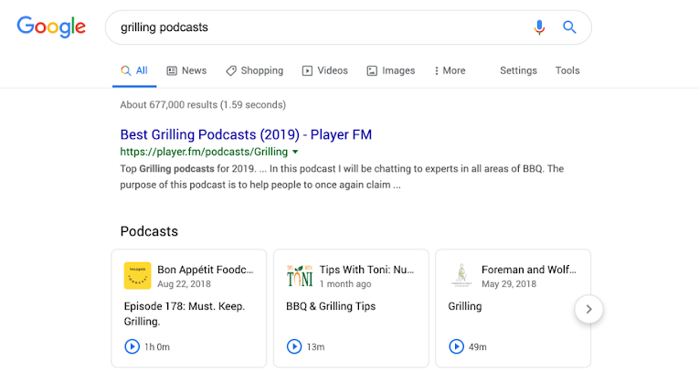 Google podcast search example