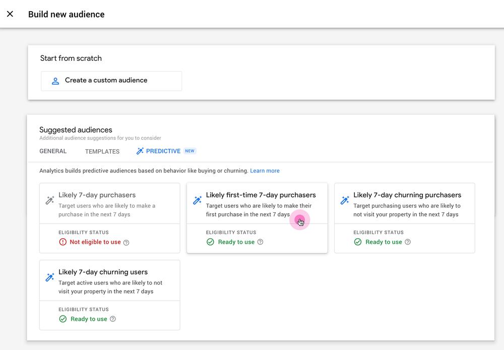 Google Analytics添加了新的预测受众群体操作工具