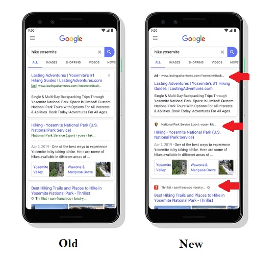 Updated Google search listings