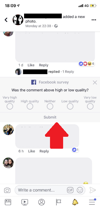 Facebook comment quality feedback