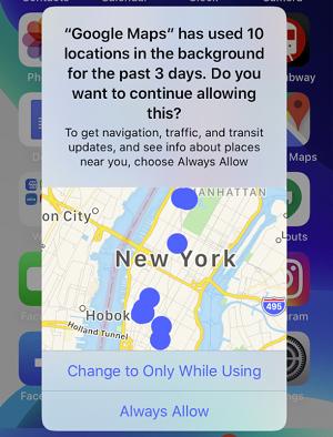 iOS 13 location data map