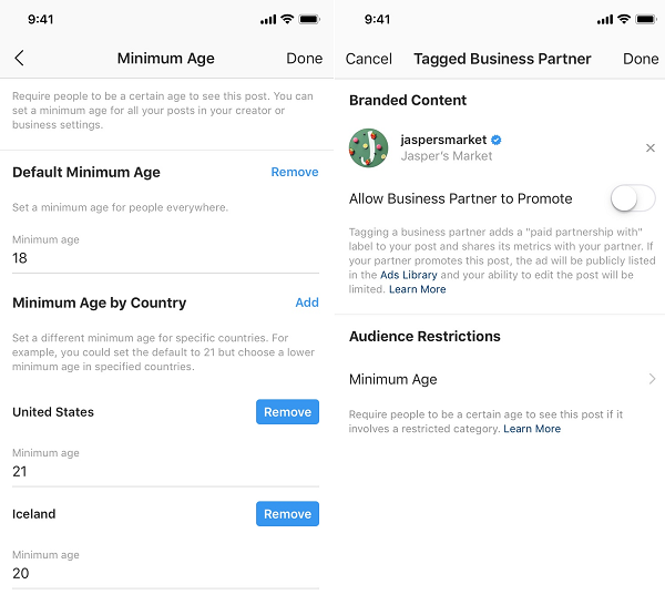 Instagram age gate tool