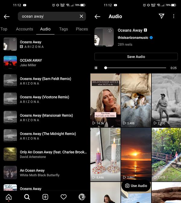 Instagram audio tab in Explore