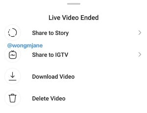Instagram Live to IGTV sharing
