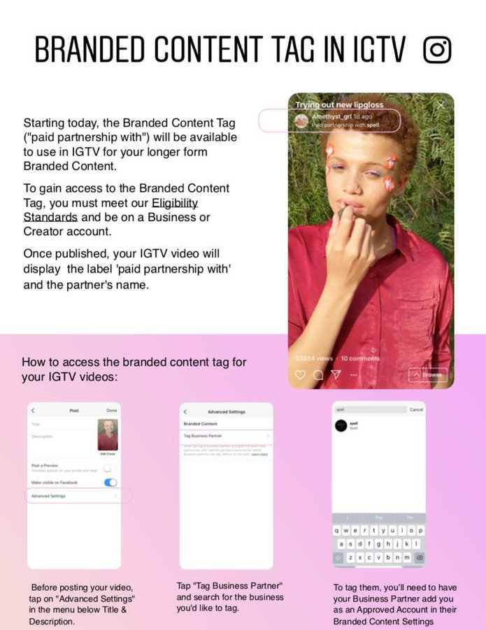 Instagram Branded Content Tags for IGTV overview